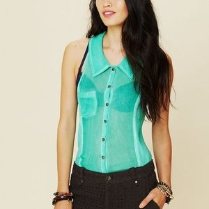 Free People Sheer Collared Button Down Tank Top